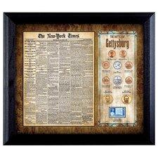 New York Times Battle of Gettysburg Framed Coin and Stamp Framed Memorabilia