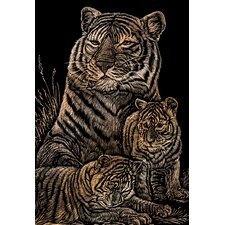 Tiger and Cubs Art Engraving