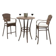 Key Biscayne 3 Piece Bar Height Dining Set with Cushions
