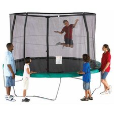 14' Enclosure Trampoline Net Using 4 Straight-Curved Poles