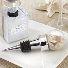 Beach ''Seaside'' Sand and Shell Filled Globe Bottle Stopper (Set of 10)