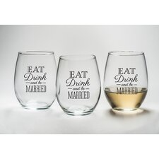"""""""Eat, Drink and Be Married"""" Stemless Wine Glass (Set of 12)"""