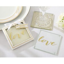 Gold Love Glass Coaster (Set of 24)
