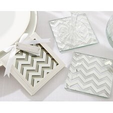 Shimmer and Shine Silver Chevron Coaster (Set of 24)