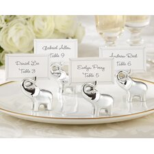 Lucky in Love Silver-Finish Lucky Elephant Place Card / Photo Holder (Set of 24)