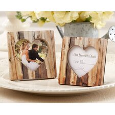 Rustic Romance Faux-Wood Heart Place Card Holder / Photo Frame (Set of 15)