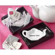 """Swee-Tea"" Ceramic Tea-Bag Caddy in Serving-Tray Gift Box (Set of 10)"