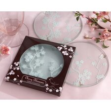 """Cherry Blossoms"" Frosted Glass Coaster (Set of 10)"