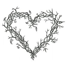 Mounted Rubber Heart Wreath Stamp