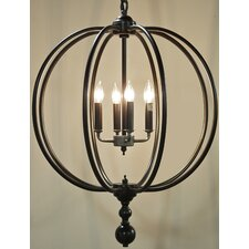 Globe 4 Light Candle Chandelier
