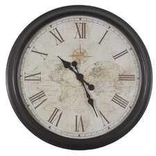 """Oversized 30"""" Antique Map Wall Clock"""