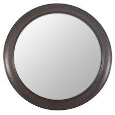 Woodgrain Round Wall Mirror