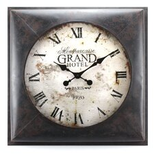 "Le Vieux Carre' Market Grand Hotel 23.5"" Square Metal Wall Clock"