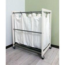 3 Bag White Laundry Cart