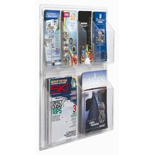 Clear-Vu 6 Pocket Combination Pamphlet and Magazine Display