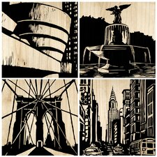 New York City 4 Piece Graphic Art Plaque Set