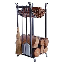 3 Piece Steel Fireplace Tool Set with Log Rack
