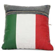 Cowboy Denim Italy Flag Throw Pillow