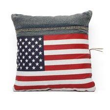 Cowboy Denim USA Flag Throw Pillow