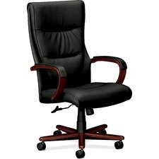 High Back Leather Chair with Arms