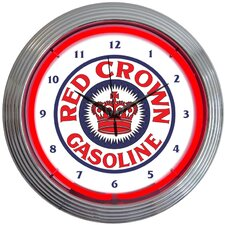 "Crown 15"" Gasoline Neon Wall Clock"