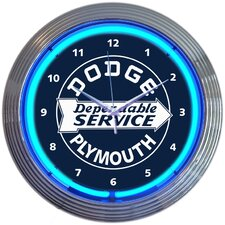 "15"" Dodge Dependable Service Neon Wall Clock"