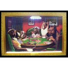 Dogs Playing Poker Neon LED Framed Vintage Advertisement