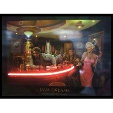 Java Dreams Neon LED Framed Vintage Advertisement