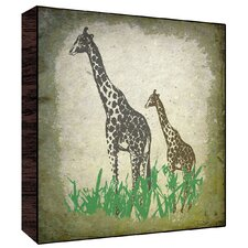 Vintage Giraffes Wall Art on Wood