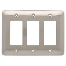 Stamped Steel Round Triple Decorator Wall Plate