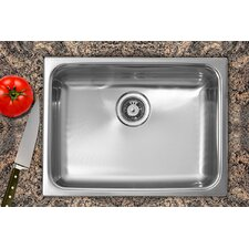 "24"" x 18"" Dual Mount Single Bowl Stainless Steel Kitchen Sink"