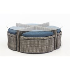 St Tropez Round Sushi Table with Ottomans