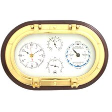 """12"""" Porthole Wall Clock,Tide Clock,Thermometer, and Hygrometer"""