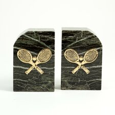 """Marble Bookends with """"Tennis Racquet"""" Emblem"""