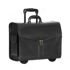 Business Leather Deluxe Wheeled Laptop Compatible Catalog Case