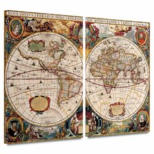 """World Map'"" by Henricus Hondius 2 Piece Painting Print on Canvas Set"