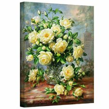 'Princess Diana Roses in a Cut Glass Vase' by Albert Williams Painting Print on Canvas