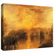 'The Lake, Petworth Sunset, a Stag Drinking' by William Turner Gallery-Wrapped on Canvas