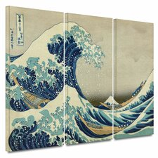 'The Great Wave Off Kanagawa' by Katsushika Hokusai 3 Piece Painting Print Gallery-Wrapped on Canvas Set
