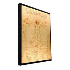 'Vitruvian Man' by Leonardo Da Vinci Floater Framed Painting Print Gallery-Wrapped on Canvas