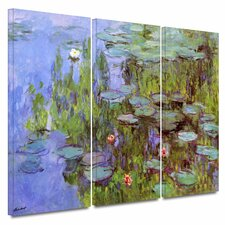 'Sea Roses' by Claude Monet 3 Piece Painting Print Gallery-Wrapped on Canvas Set