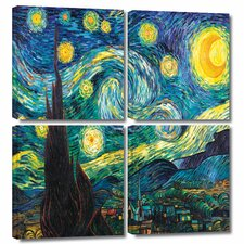 'Starry Night' by Vincent Van Gogh 4 Piece Painting Print Gallery-Wrapped on Canvas Set