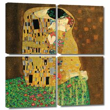 'The Kiss' by Gustav Klimt 4 Piece Painting Print Gallery-Wrapped on Canvas Set