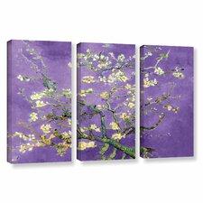 """Almond Blossom-Interpretation In Iris Violet"" by Vincent Van Gogh 3 Piece Canvas Set"