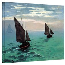 'Two Sailboats' by Claude Monet Painting Print on Canvas