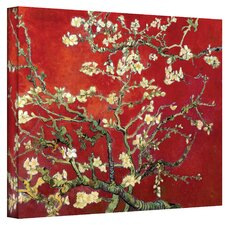 'Interpretation in Red Blossoming Almond Tree' by Vincent Van Gogh Painting Print on Canvas