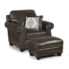 Charleston Leather Club Chair and Ottoman
