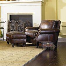 Ashland Leather Armchair and Ottoman