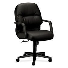 Pillow-Soft Mid-Back Leather Conference Chair with Arms