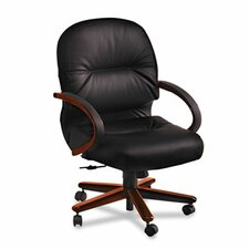 Pillow-Soft Wood Series Mid-Back Chair, Mahogany/Black Leather